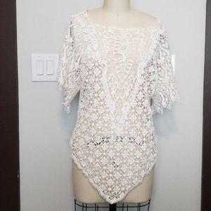 JOHNNY WAS 4 LOVE & LIBERTY CROCHETED TOP